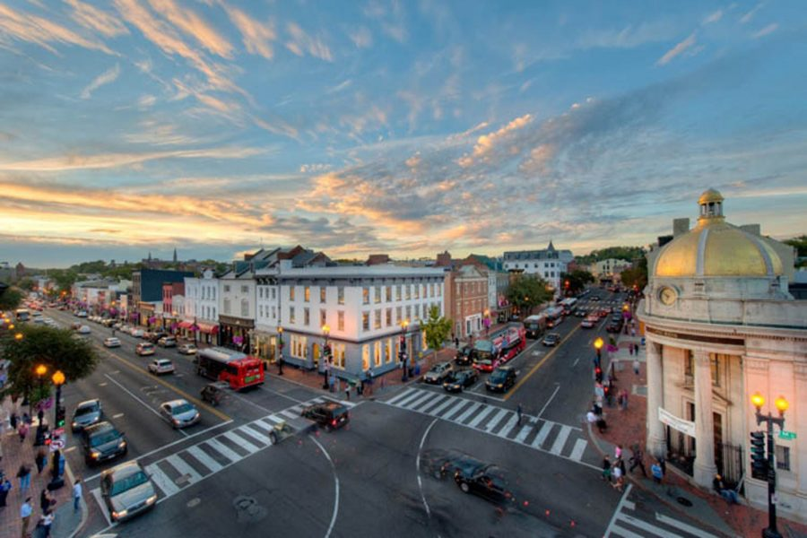 A wide shot of an intersection of the Georgetown neighborhood in D.C.